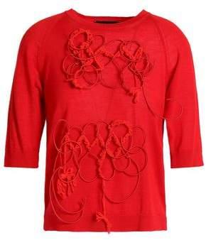 Simone Rocha Appliquéd Merino Wool Silk And Cashmere-Blend Sweater