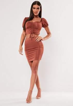 Missguided Rust Mini Skirt