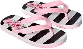 Dolce & Gabbana Stripes & Roses Rubber Flip Flops