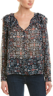 Isabel Marant Etoile Geometric Long-Sleeve Blouse