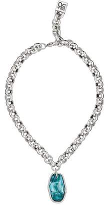 Uno de 50 Micron Silver Sky Turquoise Swarovski Crystal Pendant Necklace