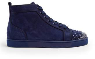 Christian Louboutin Lou Crystal Embellished Suede High Top Trainers - Mens - Blue