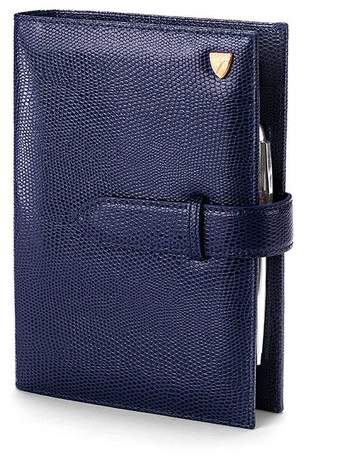 Compact Personal Organiser In Midnight Blue Lizard Cream Suede