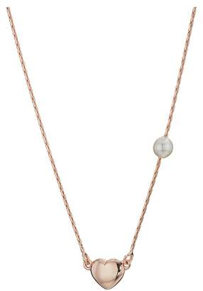 Majorica 4mm Round Rose Plated Silver Pendant with Small Heart Detail 15 Long with 2 Extension Necklace Necklace
