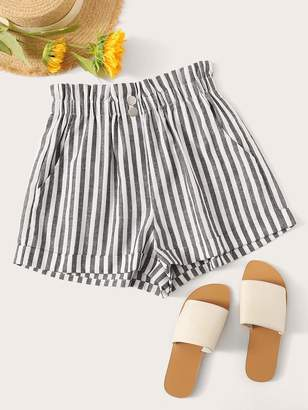 Shein Ruffle Waist Slant Pocket Stripe Shorts
