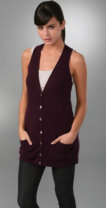 Vince Shirred Back Cashmere Vest