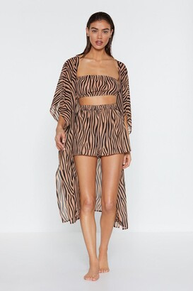 Nasty Gal It's Not All Black and White Zebra Kimono Top and Shorts