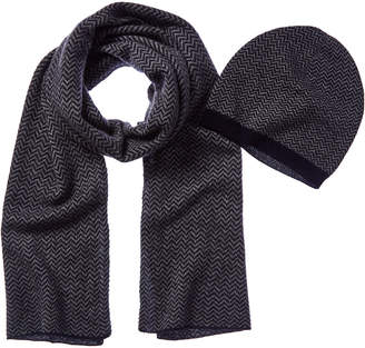 Qi 2Pc Patterned Cashmere Hat & Scarf Set