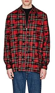 Palm Angels Men's Flocked-Logo Plaid Wool Shirt - Red