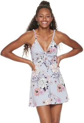 Candies Juniors' Candie's Knot-Front Crepe Romper
