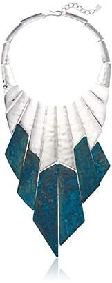 Robert Lee Morris Fade Away Silver and Green Statement Bib Necklace