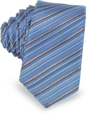 Laura Biagiotti Light Blue and Brown Diagonal Stripe Woven Silk Extra-Narrow Tie