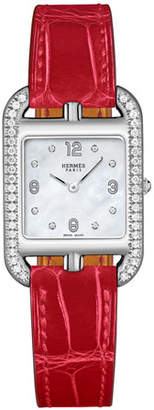 Hermes Cape Cod PM Watch with Diamonds & Alligator Leather Strap, Red