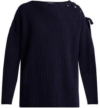 Stella McCartney Lace Up Cashmere Blend Sweater - Womens - Navy