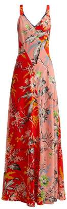 Diane von Furstenberg Avalon Poppy Print Silk Maxi Dress - Womens - Orange Multi