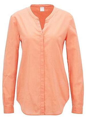 HUGO BOSS Relaxed-fit blouse in a chambray cotton blend