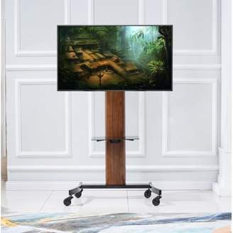 "Ebern Designs Mock Curved Wood Flat Panel 35"" TV Stand"