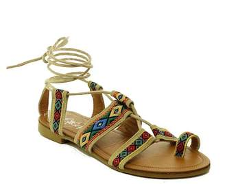 Refresh Kimmy Embroidered Lace-Up Sandal $35.99 thestylecure.com