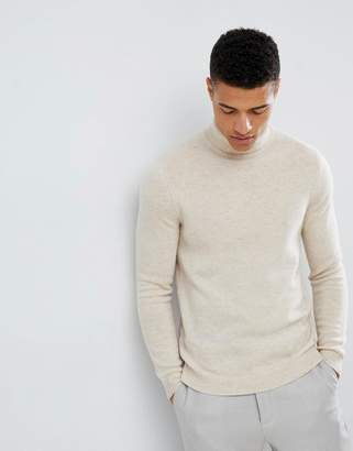 Asos DESIGN lambswool roll neck sweater in oatmeal