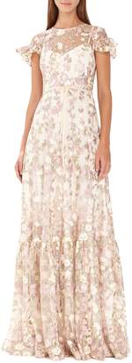 ML Monique Lhuillier Floral Embroidered Mesh Evening Dress