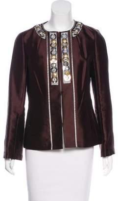 Tory Burch Embellished Wool & Silk-Blend Jacket