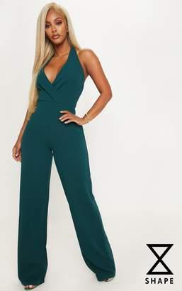 54207cbedc50 PrettyLittleThing Shape Emerald Green Plunge Halterneck Jumpsuit