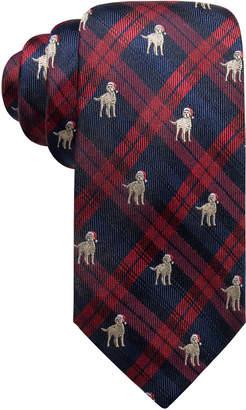 Club Room Men Holiday Plaid Dog Silk Tie