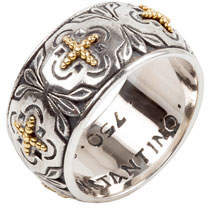 Konstantino Cross Milgrain Band Ring