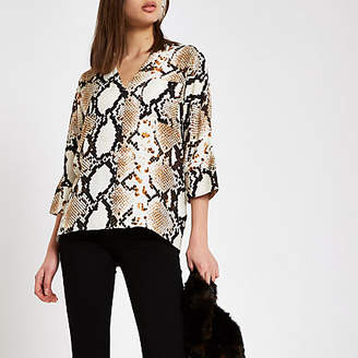 River Island Womens Brown snake print oversized button blouse