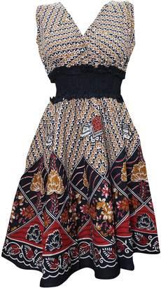 Mogul Interior Mogul Womens Peasant Dress V-Neck Floral Printed Cotton Boho Dresses