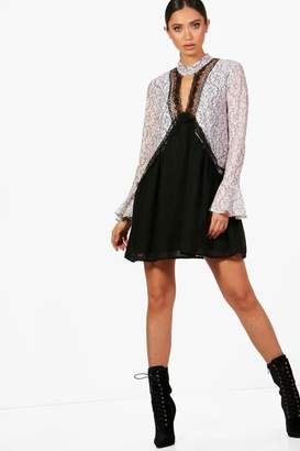 boohoo Choker Lace Detail Shift Dress