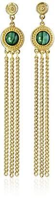 Ben-Amun Jewelry Bohemian Fringe with Stones Post Drop Earrings
