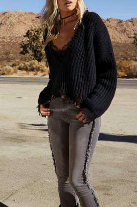 Elan International Deconstructed V Neck Sweater