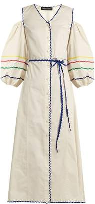 Anna October - Cut Out Shoulder Rickrack Trimmed Cotton Dress - Womens - White Multi