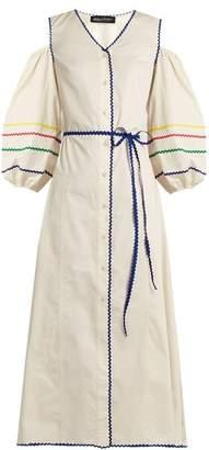 Anna October - Cut Out Shoulder Ric Rac Trim Cotton Dress - Womens - White Multi