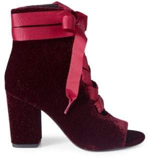 Ava & Aiden Lace-Up Velvet Booties