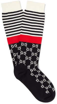 Gucci Striped Logo-Jacquard Stretch Cotton-Blend Socks