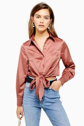 Topshop Womens Petite Satin Tie Front Shirt - Pink Blush