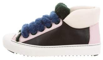 Fendi Leather Shearling-Trimmed Sneakers