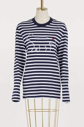 MAISON KITSUNÉ Striped cotton fox shirt