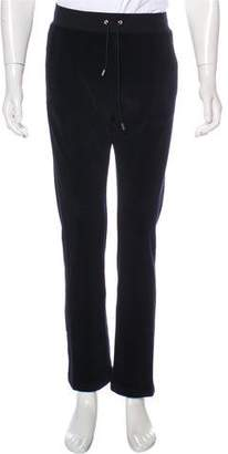 Versace Leather-Trimmed Velour Pants