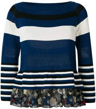 Antonio Marras striped lace ruffle hem sweater