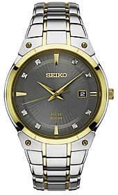 Seiko Men's Stainless Two-Tone Diamond Accent Solar Watch