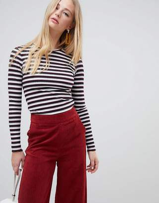 Warehouse ribbed long sleeve top in stripe
