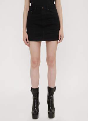 Saint Laurent Denim Stud Mini Skirt in Black