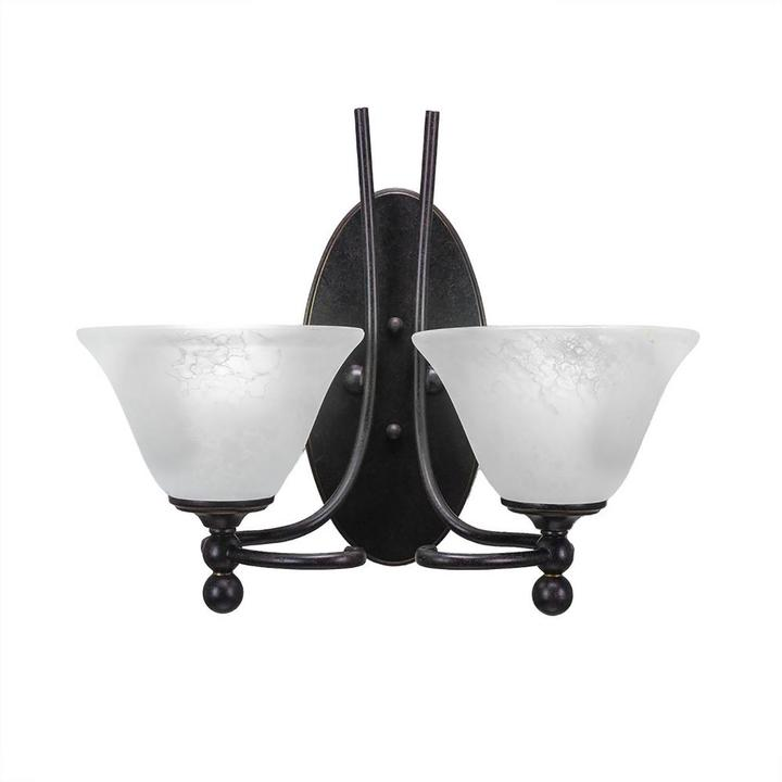 Cambridge Silversmiths Cambridge 2-Light Dark Granite Sconce with White Marbleized Glass