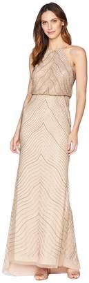 Adrianna Papell New Beaded Blouson Halter Gown Women's Dress