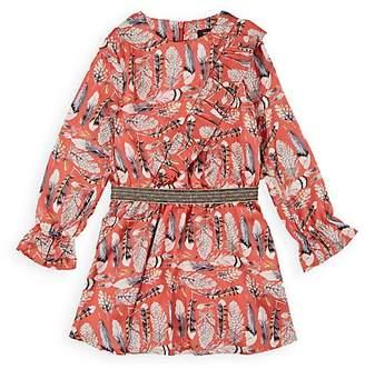 Imoga Kids' Feather-Print Satin Dress