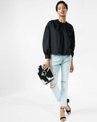 Express Oversized Puff Sleeve Cotton Blouse