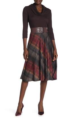 Robbie Bee Plaid Skirt Belted Cowl Neck Midi Dress
